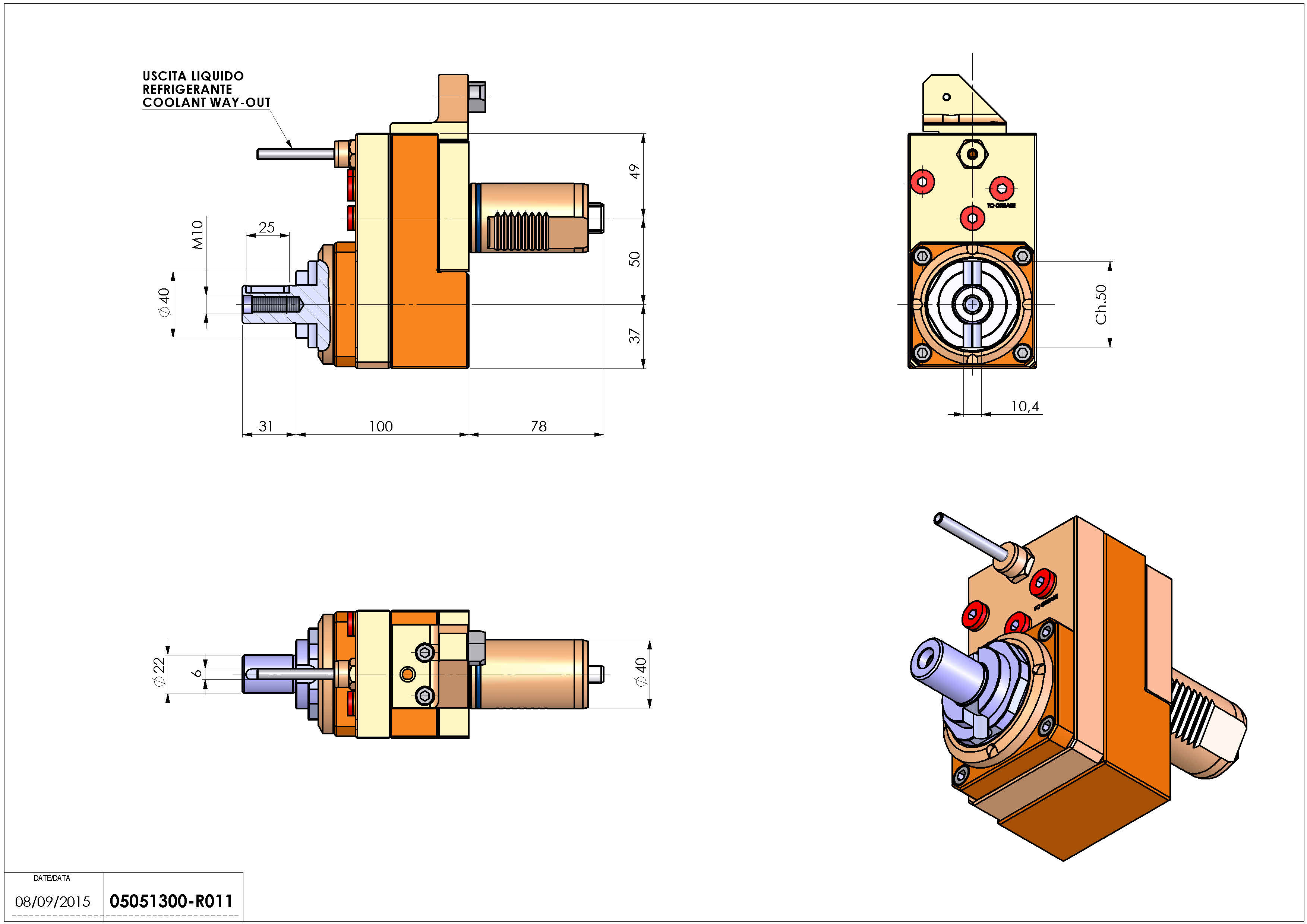 Technical image - LT-S VDI40 DIN22 OFS50 H100 MZ H100 MAZAK NEXUS QTN 200 250.