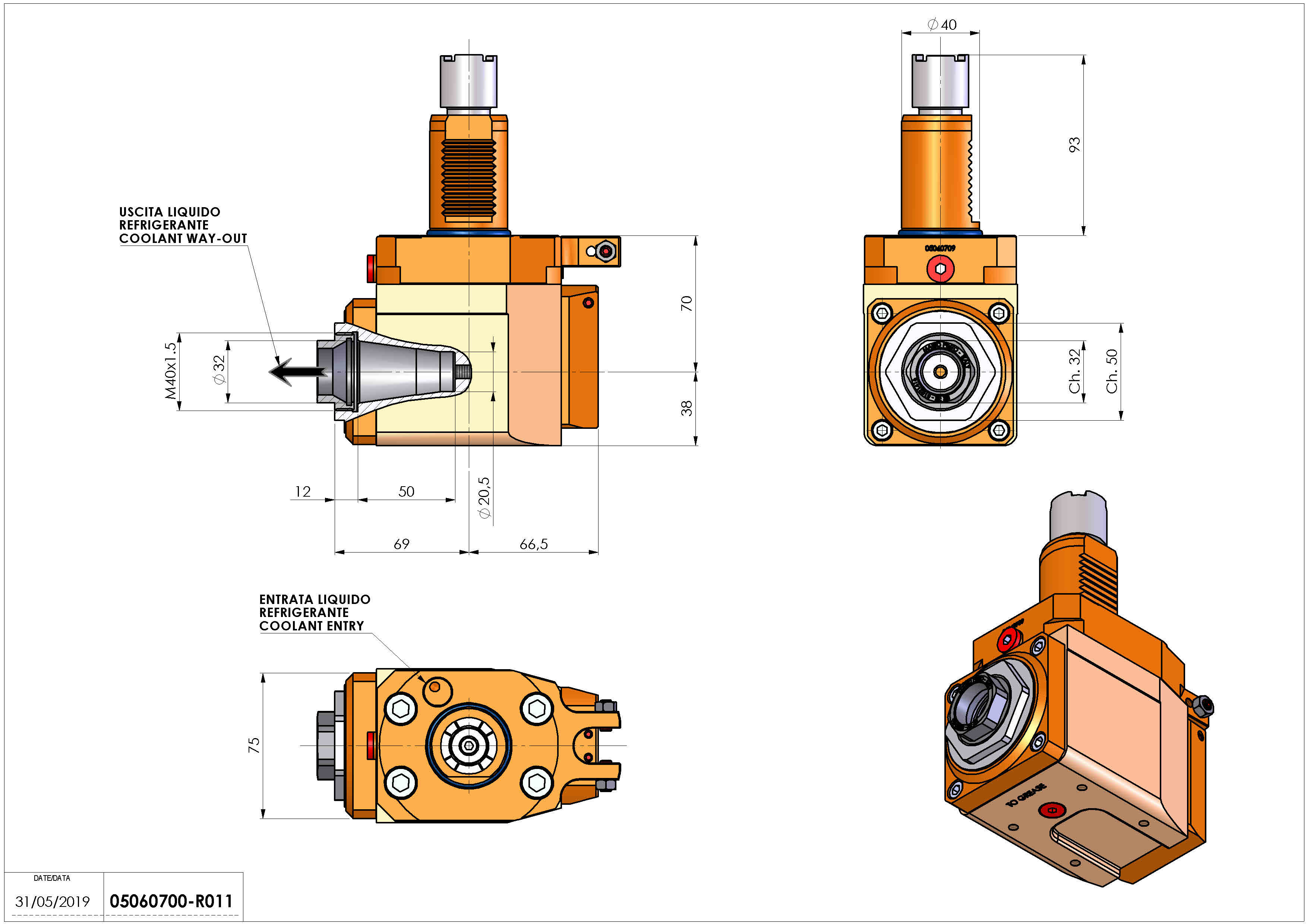 Technical image - LT-A VDI40 ER32F R RF H70.