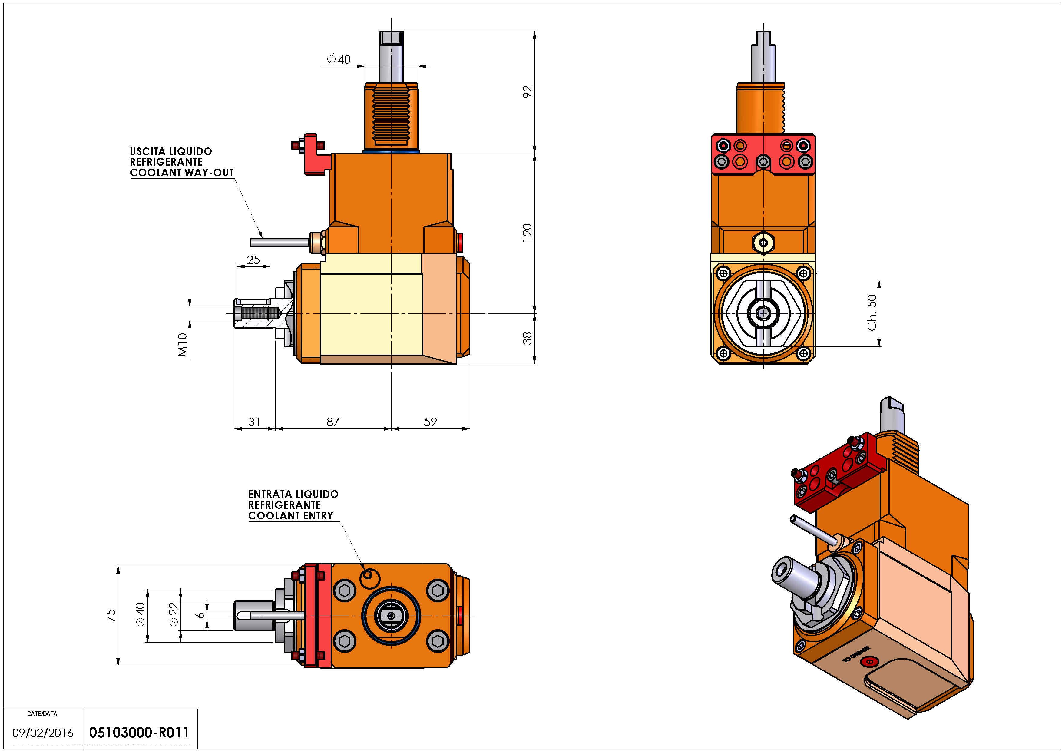 Technical image - LT-A VDI40 DIN138-22 R H120 HW.