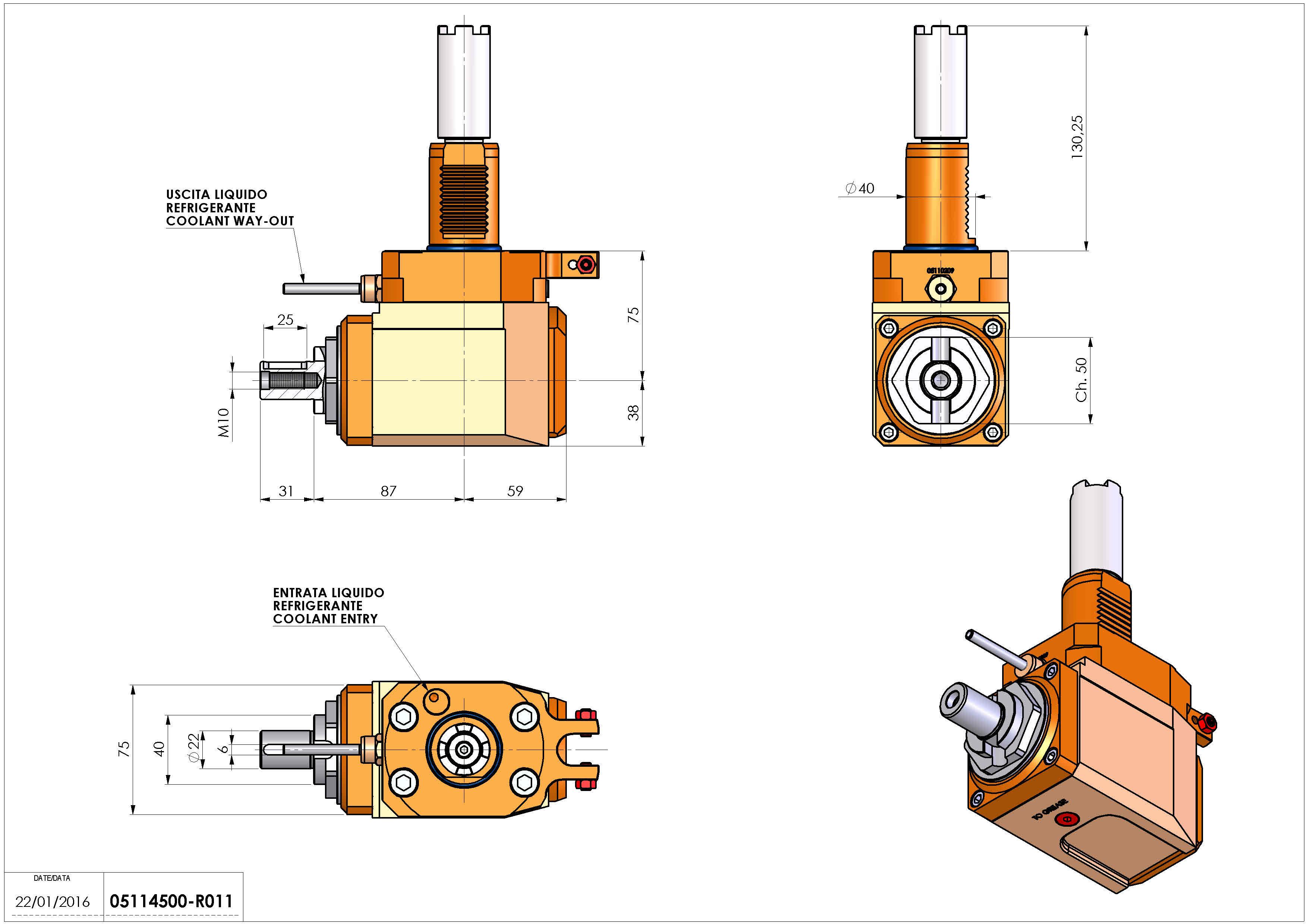 Technical image - LT-A VDI40 DIN22 H75 130 HA.