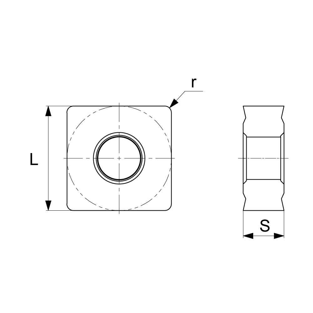 SNMG Negative Turning Insert with KM Medium Chipbreaker (KA9000 Universal Grade) Technical Drawing.