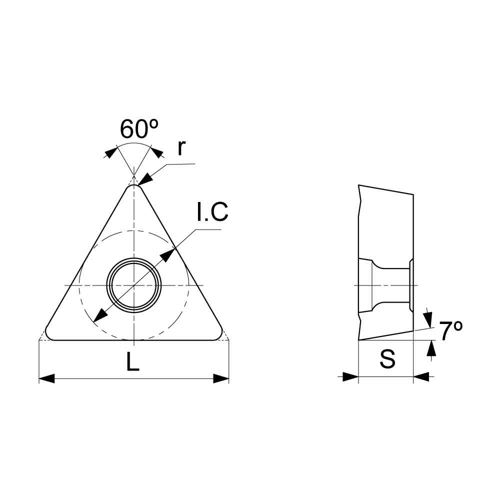 TCMT Positive Turning Insert with KF Finishing Chipbreaker (KA9000 Universal Grade) Technical Drawing.