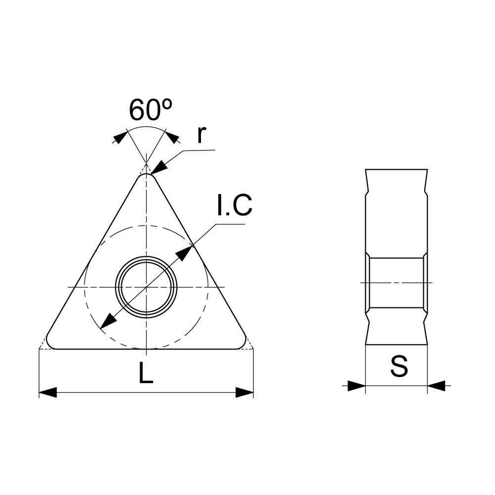 TNUX Left Handed Negative Turning Insert (KA9000 Universal Grade) Technical Drawing.