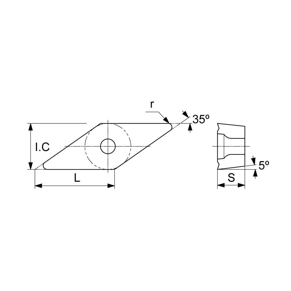 VBMT Positive Turning Insert with KF Finishing Chipbreaker (KA9000 Universal Grade) Technical Drawing.