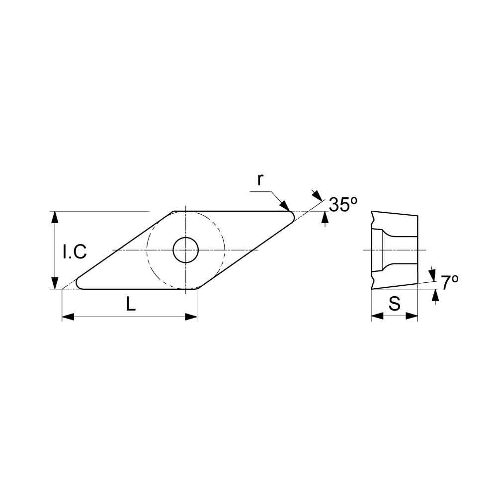 VCMT Positive Turning Insert with KF Finishing Chipbreaker (KA9000 Universal Grade) Technical Drawing.