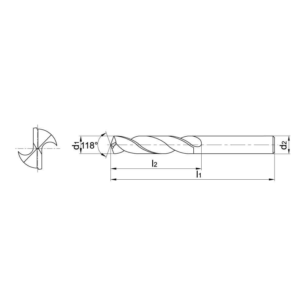 ZCC-CT 1101SC05 SC Series Solid Coated Carbide Twist Drill for Aluminium Drilling - 5xD Stub Drill..