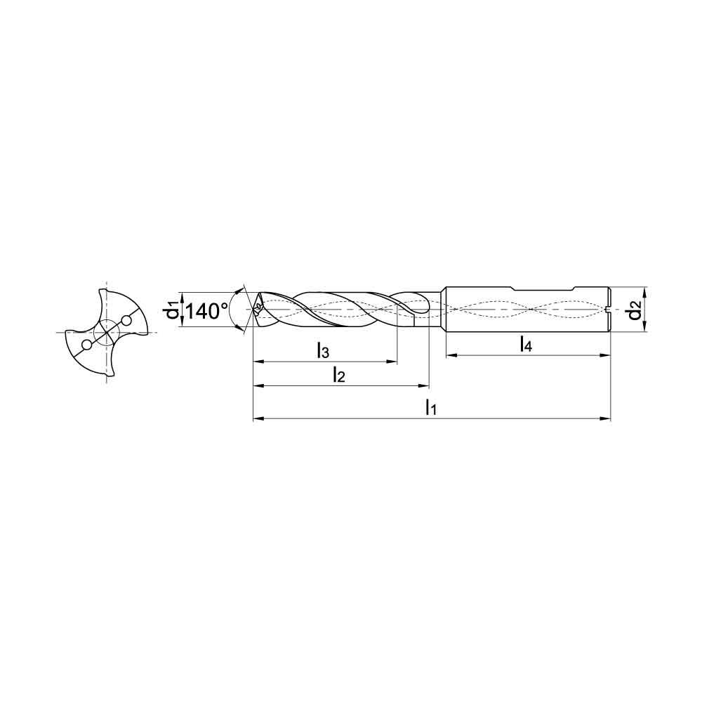 ZCC-CT 1634SU03C SU Series Solid Coated Carbide Through Coolant Twist Drill for General Purpose Drilling - 3xD Stub Drill..